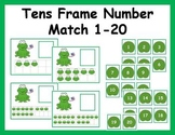 Tens Frame Number Match 1-20 Math Center - Frog Theme