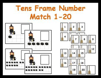 Tens Frame Number Match 1-20 Math Center - Halloween