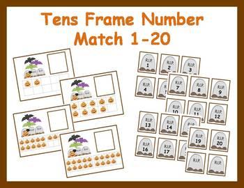 Tens Frame Number Match 1-20 Math Center - Halloween Theme