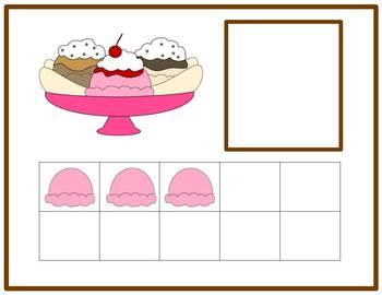 Tens Frame Number Match 1-20 Math Center - Ice Cream Theme