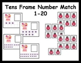 Tens Frame Number Match 1-20 Math Center - Spring theme