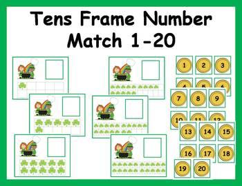 Tens Frame Number Match 1-20 Math Center - St. Patrick's Day theme