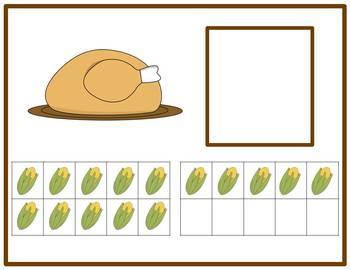 Tens Frame Number Match 1-20 Math Center - Thanksgiving Dinner