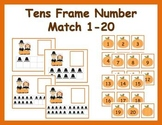 Tens Frame Number Match 1-20 Math Center - Thanksgiving Pilgrims