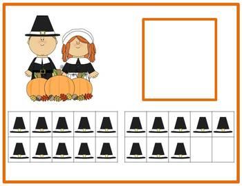 Tens Frame Number Match 1-20 Math Center - Thanksgiving Pilgrims