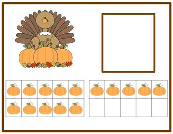 Tens Frame Number Match 1-20 Math Center - Thanksgiving Turkey