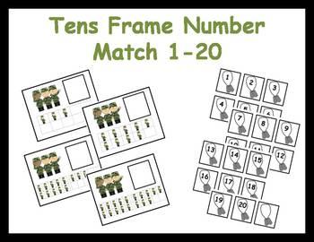 Tens Frame Number Match 1-20 Math Center - Veteran's Day