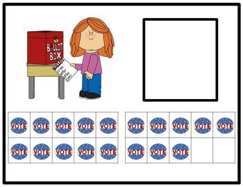 Tens Frame Number Match 1-20 Math Center - Voting