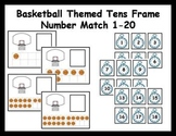 Tens Frame Number Match 1-20 Math Center - basketball theme