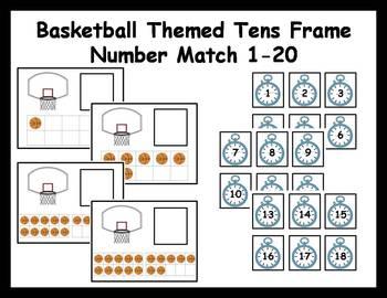 Tens Frame Number Match 1-20 Math Center - basketball theme