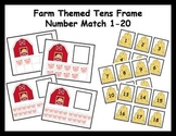 Tens Frame Number Match 1-20 Math Center - farm theme