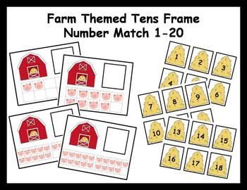 Tens Frame Number Match 1-20 Math Center - farm theme
