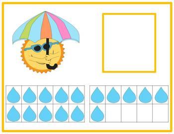 Tens Frame Number Match 1-20 Math Center - rainy weather theme