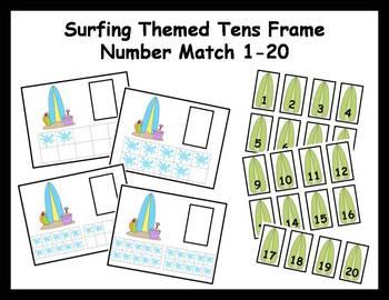 Tens Frame Number Match 1-20 Math Center - summer surfing theme