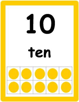 Tens Frame Number Posters 1-10
