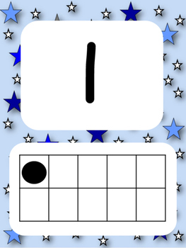 Tens Frame Number Posters 1-20 (Blue Space Stars)