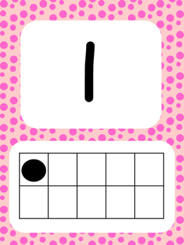 Tens Frame Number Posters 1-20 (Bright Dots)
