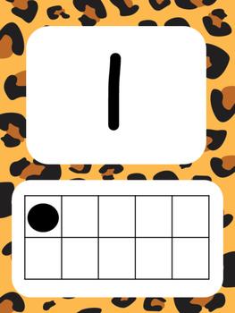Tens Frame Number Posters 1-20 (Leopard)