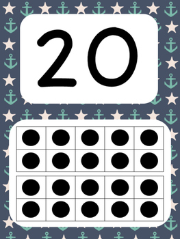 Tens Frame Number Posters 1-20 (Nautical Theme)