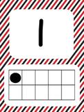 Tens Frame Number Posters 1-20 (Red Black Stripes)