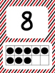 Tens Frame Number Posters 1-20 (Red Black Stripes)