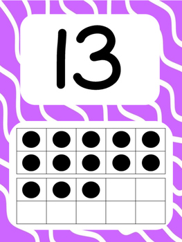 Tens Frame Number Posters 1-20 (Wavy Lines)