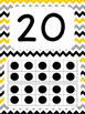 Tens Frame Number Posters 1-20 (Yellow, Gray, Black Chevron)