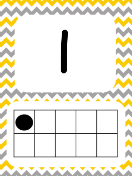 Tens Frame Number Posters 1-20 (Yellow and Gray Chevron)