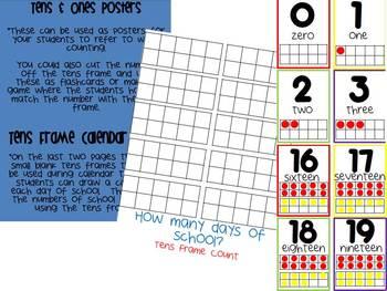Tens Frame Posters & Tens Frame Calendar Chart