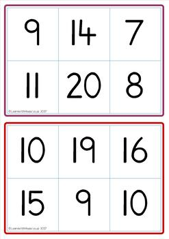 Tens Frame to 20 Bingo Game