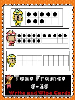 Tens Frames 0-20 Write and Wipe Cards