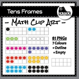 Tens Frames Clip Art - 81 PNGS - multiple colours plus empty frame