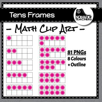 Tens Frames Clip Art - 81 PNGS - multiple colours plus empty frame