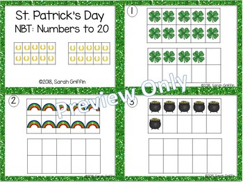 Tens Frames - Numbers to 20 ~ St. Patrick's Day Math Center ~ Task Cards