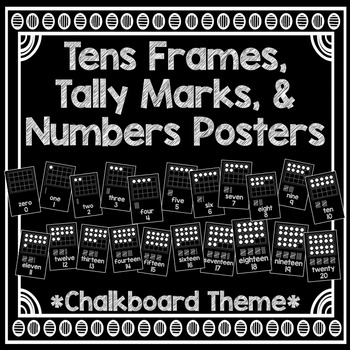 Tens Frames, Tally Marks, & Numbers Posters *Chalkboard Theme*