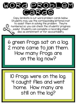 Tens Frames Math Story Problems