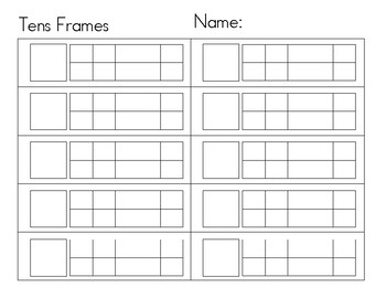 Tens Frames Worksheets