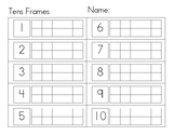 Tens Frames Worksheets