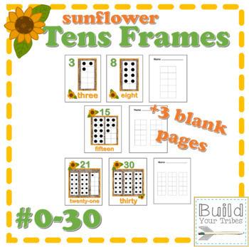 Tens Frames mini posters-Sunflower