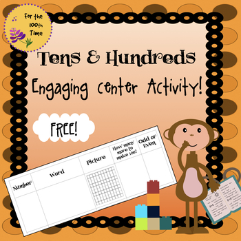 Tens & Hundreds Math Center Activity-Number Word, Picture,Make 100, Odd & Even