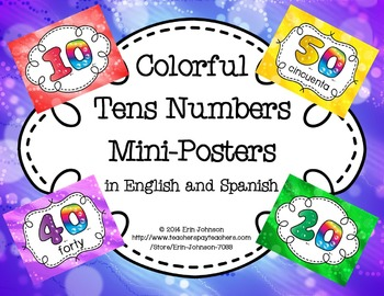 Tens Numbers Mini Posters in English and Spanish