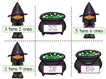 Tens & Ones Witches Themed