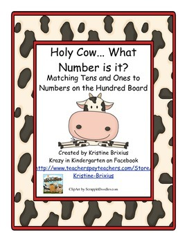 Tens Ones and the Hundred Board Matching Game Cow Theme