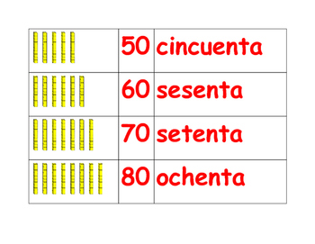Tens and Hundreds Vocabulary in English and Spanish