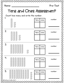 Tens and Ones Assessment by Kathryn Watts   Teachers Pay ...
