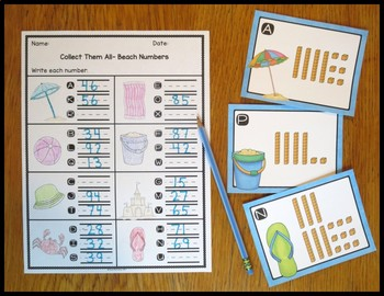 Tens and Ones Beach Numbers Task Card Activity