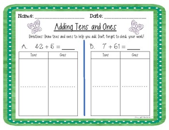 Tens and Ones Double Digit to Single Digit Addition