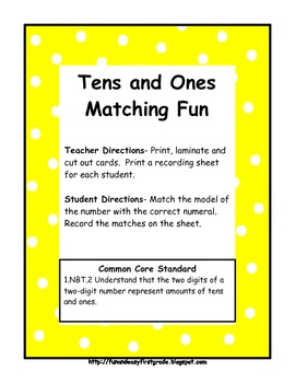 Tens and Ones Matching Fun (Common Core Aligned)