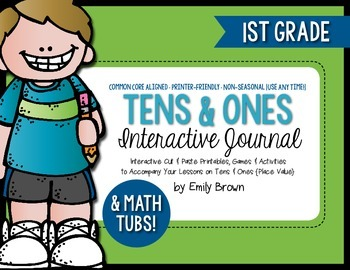 Tens and Ones Math Journal Activities and Math Tubs