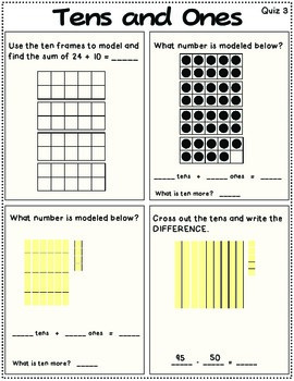 Tens and Ones Math Review OR Morning Work First Grade CC